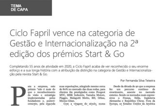 CicloFapril wins in the Management and Internationalization category at the 2nd edition of the Start & Go awards